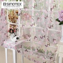 ISINOTEX Fenster Vorhang Lila Schmetterling Burnout Tulle Voile Stoff Transparente Sheer Wohnzimmer Screening 1 Teile/los(China (Mainland))