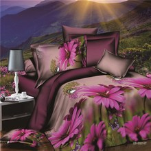 2015 New 3D bedding set animals and flower ,bed linen,bedding-set,family set 4 pcs quilt /bed sheets / pillowcases.king size(China (Mainland))