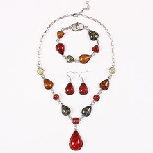 Fashion Brand Water Drop Color Imitation Amber Necklace Earrings Bracelet Jewelry Sets New Jewelry Set TL9313(China (Mainland))