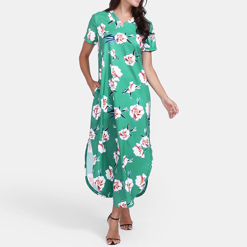 472b60b71d FeiTong Short Sleeves Boho Maxi Dress Women Side Split Loose Long ...