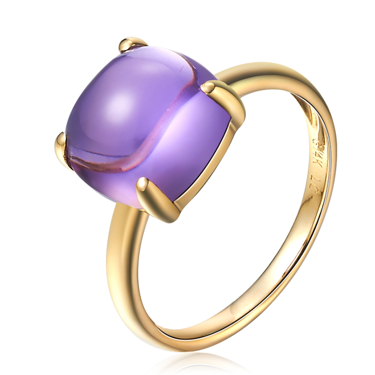 Fshion 14K Yellow Gold Natural Amethyst Ring K Gold Colored Natural GEM Ring Women Purple Crystal Stone Wedding Anniversary Ring<br><br>Aliexpress