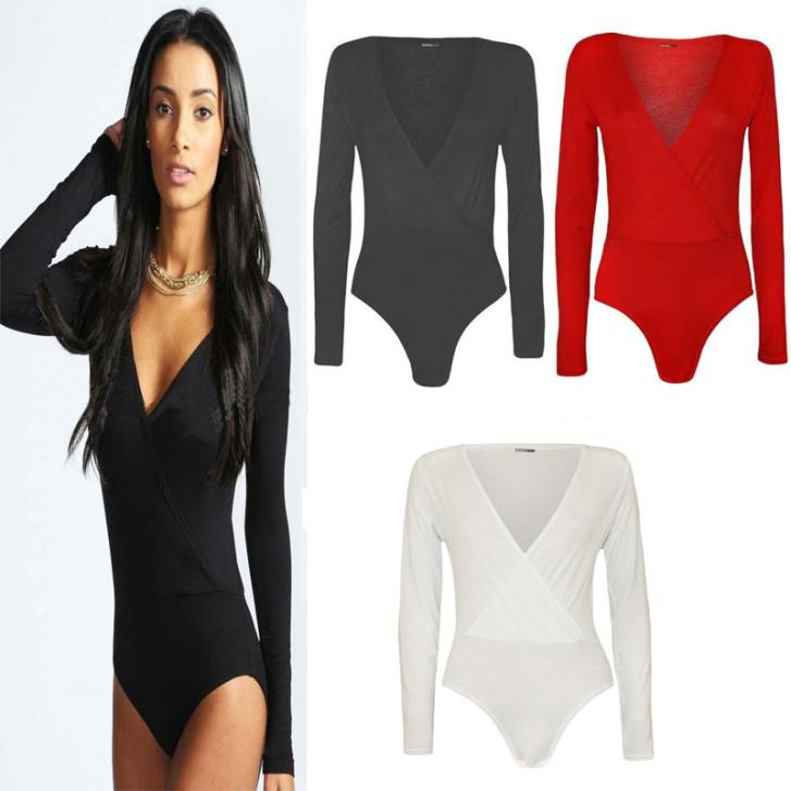 Fall Women's Sexy Slim Short Wrap Front Stretch Bodycon Bandage Jumpsuit Romper Bodysuit with Long Sleeve V-Neck One-Piece(China (Mainland))