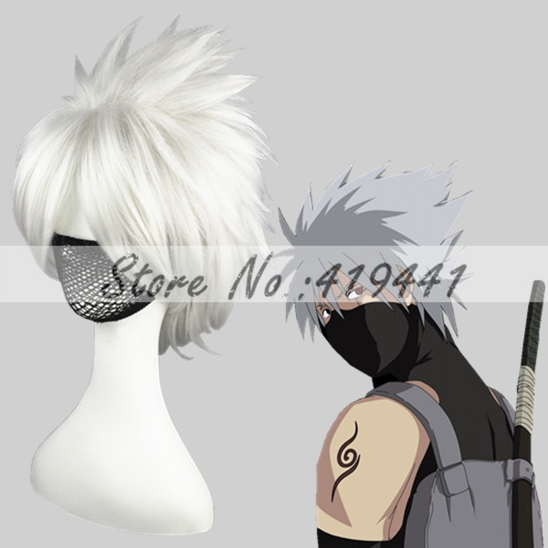 35cm NARUTO-Hatake Kakashi Silver Gray Synthetic anime cosplay wigs<br><br>Aliexpress