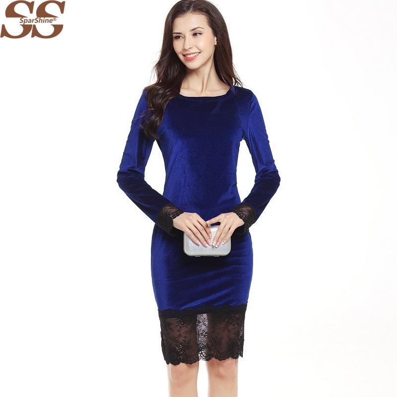 2017 Sparshine Sexy Lace Stitching Swan Velvet Women Dress Female Dress Fashion Summer Style Elegant Pencil Shirts Dress Women(China (Mainland))