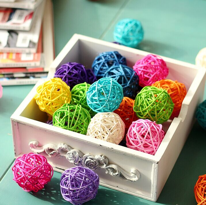 8pcs/lot Mix color Decor Rattan Wicker Cane 4cm Decoration Balls for Home, Garden Patio,Wedding, Birthday Party decoration(China (Mainland))
