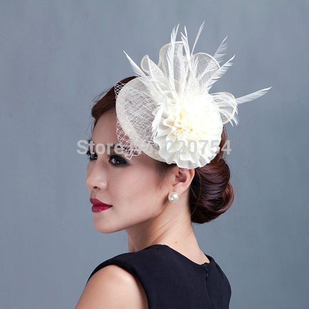 2015 women ivory flowers Fascinator with feather ladies sinamay hat hair wedding and party fascinators(China (Mainland))