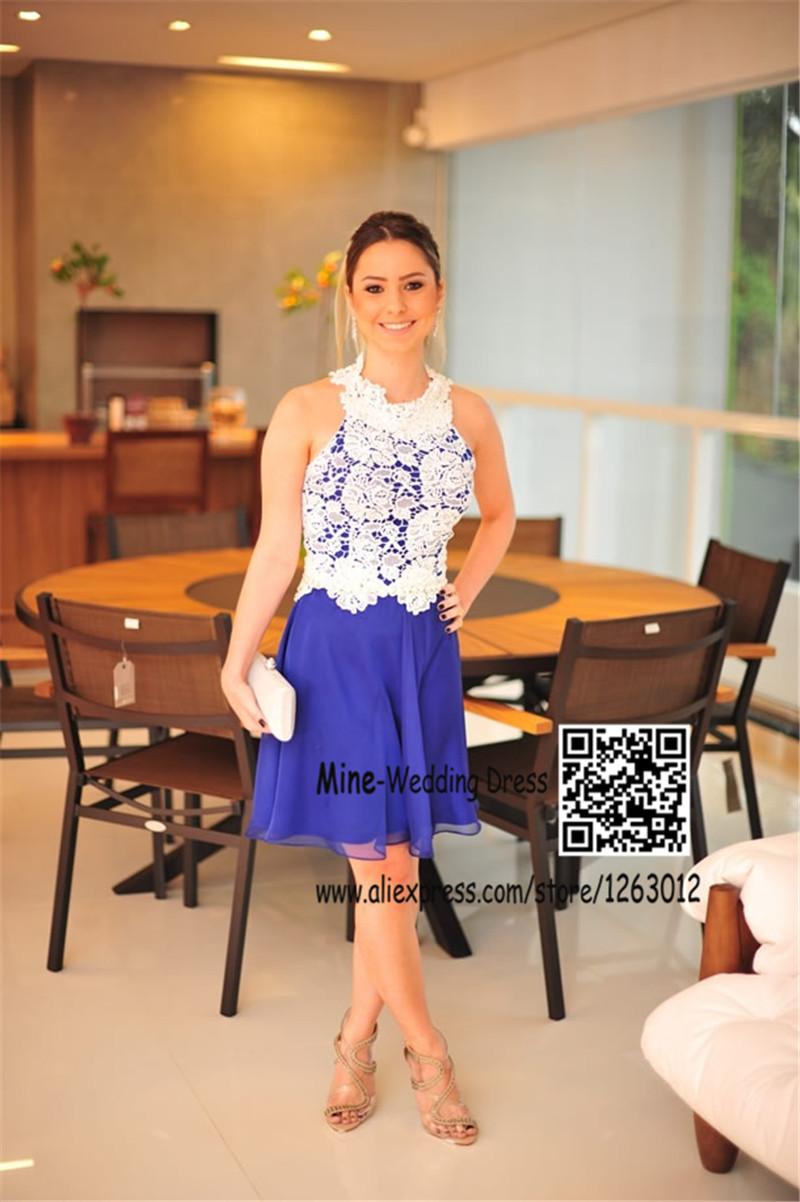 Новое поступление белого кружева и голубой шифон холтер декольте возвращения на родину коктейльные платья короткая длина