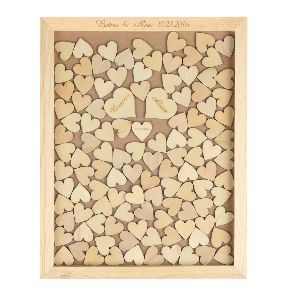 Personalized Engraved Rustic Wooden Wedding Guest Book Custom Drop Top Box With 130 hearts Gift Decor(China (Mainland))