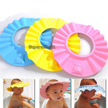 3 Colors Safe Shampoo Shower cap Bath Protection EVA Wash Shield Baby care Hats 0-5years 2015 Adjustable Resizable