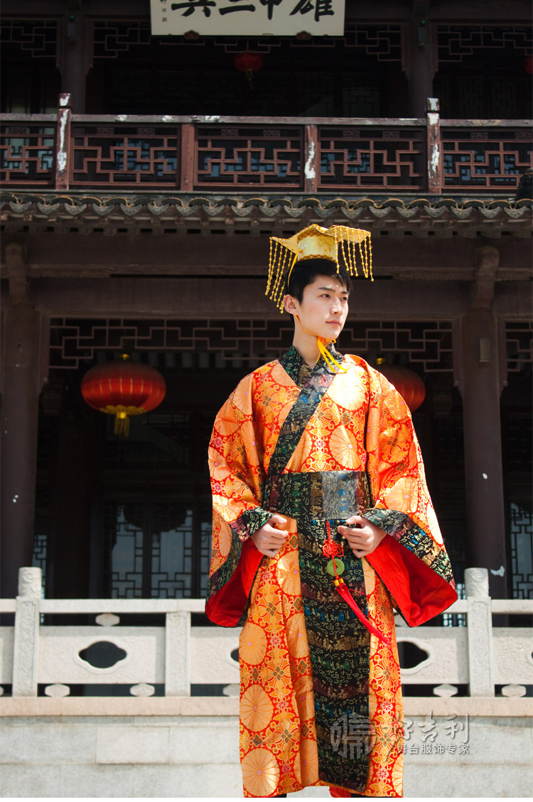 free shipping red/yellow Chinese Ancient Man Clothing Emperor Prince Show Cosplay Robe Costume One SizeОдежда и ак�е��уары<br><br><br>Aliexpress