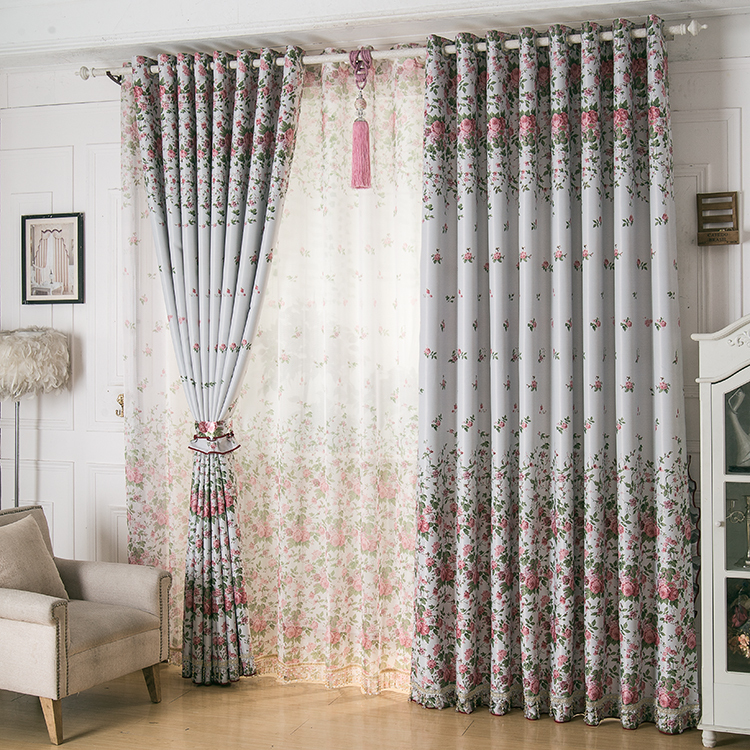 Double Sided Drapes : Double sided printing calico shading bloom houseful