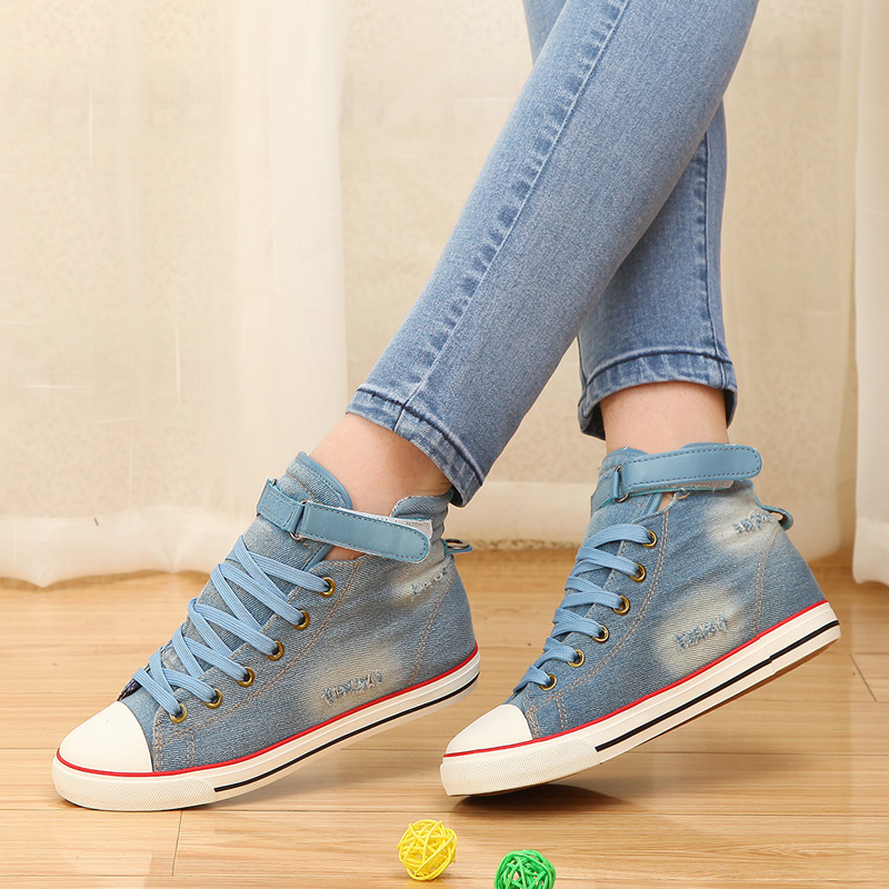 2015 spring autumn high velcro women canvas shoes female water wash denim sneakers lace-up cloth shoes fashion jeans size 35-39(China (Mainland))