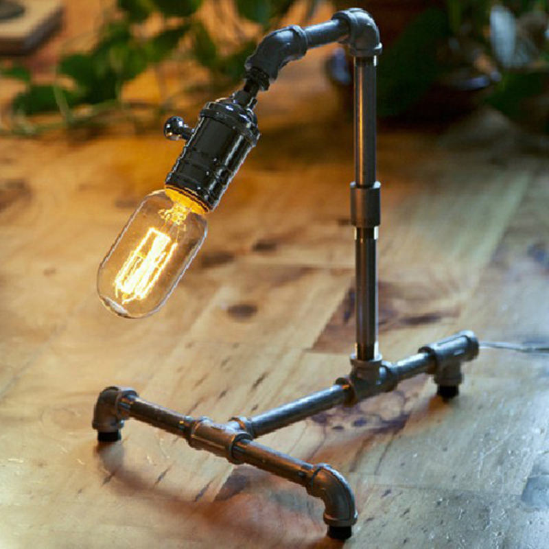 Фотография American vintage LED tube table lamp Loft creative industrial wind restoring ancient ways pipe des light
