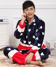 Men's High Quality Thick Flannel Pajamas Cute Mickey Head Sleepwear For Winter Long Sleeves Europe American Style Pijama Hombre(China (Mainland))