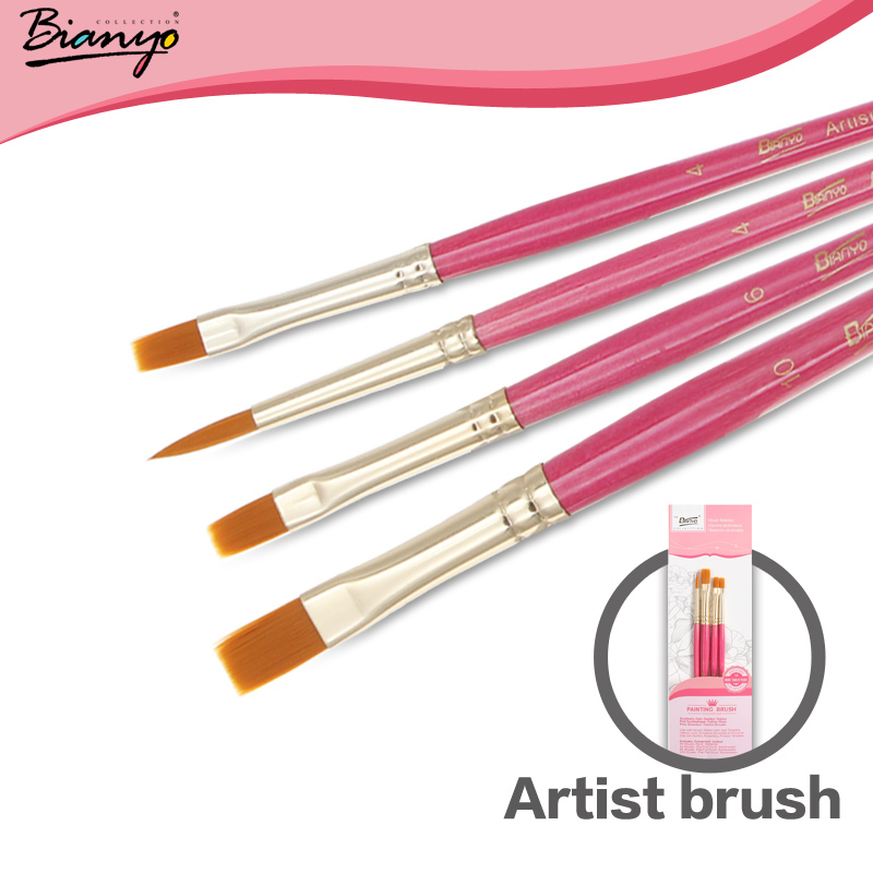Bianyo 4Pcs Artist Nylon Hair Pink Wooden Acrylic PaintBrush Set For Oil Watercolor Gouache Drawing Painting Brush Art Supplies(China (Mainland))