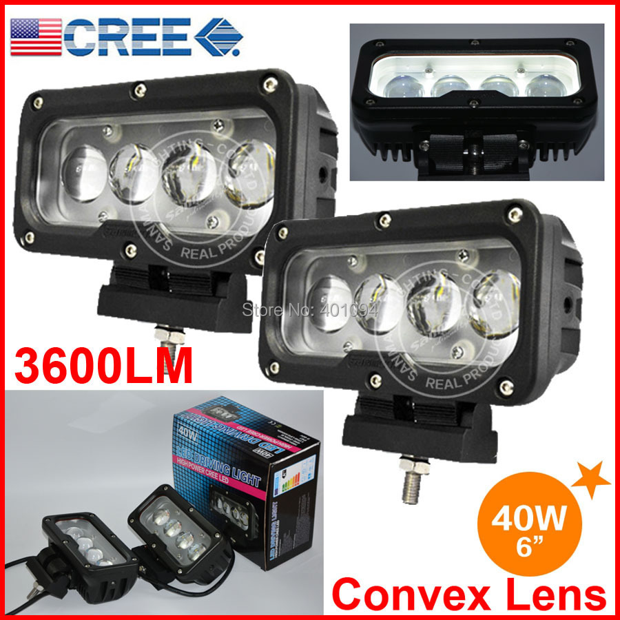 "Фотография 2PCS 6"" 40W CREE 4LED*10W Driving Work Light Bar Rectangle Offroad SUV ATV 4WD Spot Beam 3600lm 9-60V High Power W/Convex Lens"