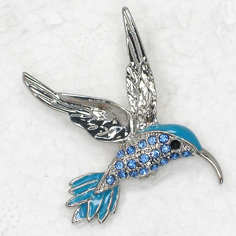 Fashion Hummingbird brooches Blue Crystal Rhinestone Enamel Bird Brooch Costume Jewelry 099 B(China (Mainland))