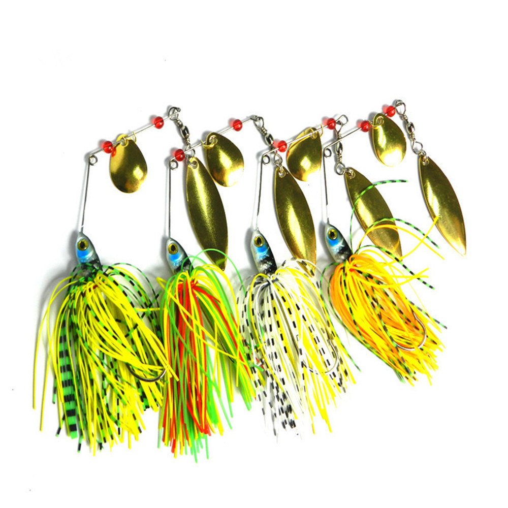Discount 4Pcs Spoon Spinner Swisher Buzzbaits Isca Artificial Reflective Golden Spoon Baits with 3D Fishing Eye Bared Hook 17.4g(China (Mainland))