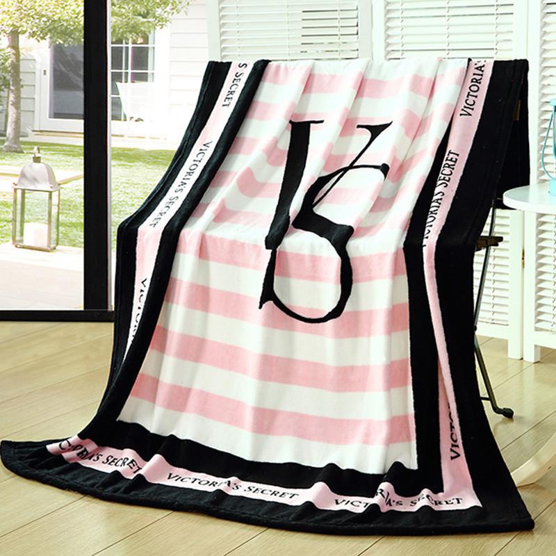 Pink VS Secret Blanket Manta Fleece Blanket Throws on Sofa/Bed/Plane Travel Plaids Hot Limited Battaniye 130cmx160cm(China (Mainland))