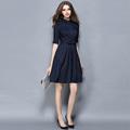 Spring Autumn Women Wear To Work Vestido Slim Navy Blue Bow Belted Turn down Collar Half