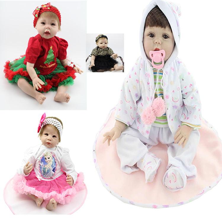 22 Inch 55cm NPK Collection Doll Silicone Reborn Baby Dolls Handmade Babies Newborn Lovely Baby Doll Kids Birthday Xmas Gift(China (Mainland))