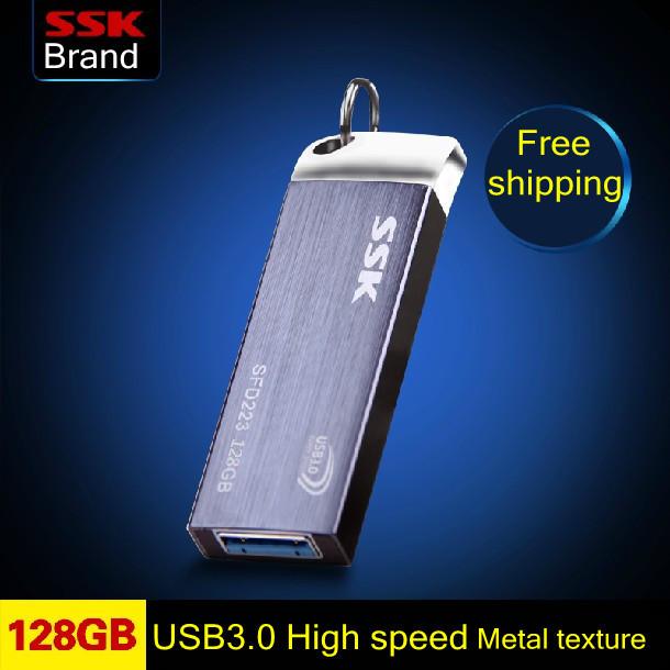 Гаджет  Free shipping Ssk SFD223 USB 3.0 flash drive 100% 128GB Metal High-speed usb flash drive pen drive None Компьютер & сеть