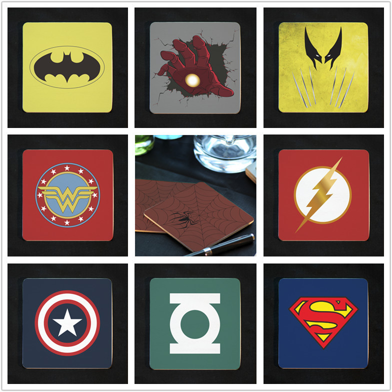 6pcs/lot Vintage Classic Coaster Cup Mat Household Supplies Placemat Super Hero Optional(China (Mainland))