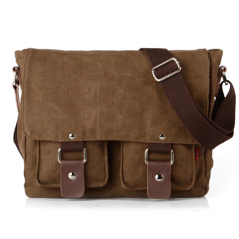 Гаджет  Vintage Men Canvas Messenger Bag Leather High Quality Outdoor Sport Shoulder Bags Travel Crossbody Bag Unisex C5108 None Камера и Сумки
