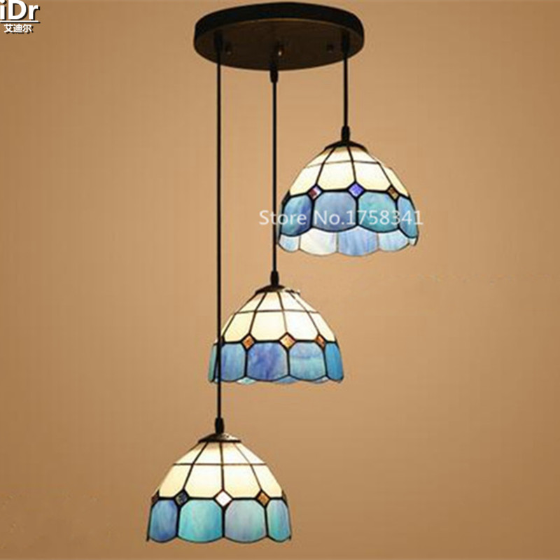 The new Mediterranean restaurant light blue headlights 3 simple porch lights balcony Pendant Lights wwy-0380(China (Mainland))