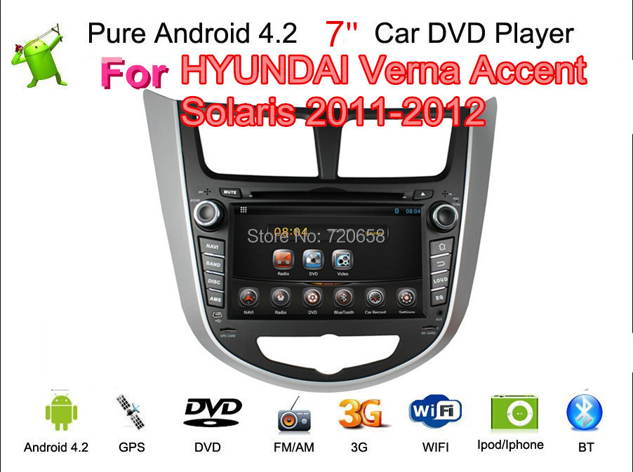 Pure Android 4.2 Car DVD Hyundai Verna Accent Solaris Capacitive screen A9 Dual Core Cpu GPS BT TV Radio RDS,Wifi,Free ship - Jiangsu Kaichuang Auto Parts CO.,LTD. store