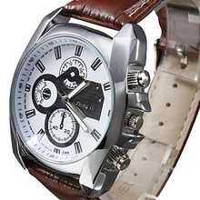 2015 New Three Eyes Clock Fashion Quartz Watch Men Sports Leather Strap Watches Casual Hours Wristwatches