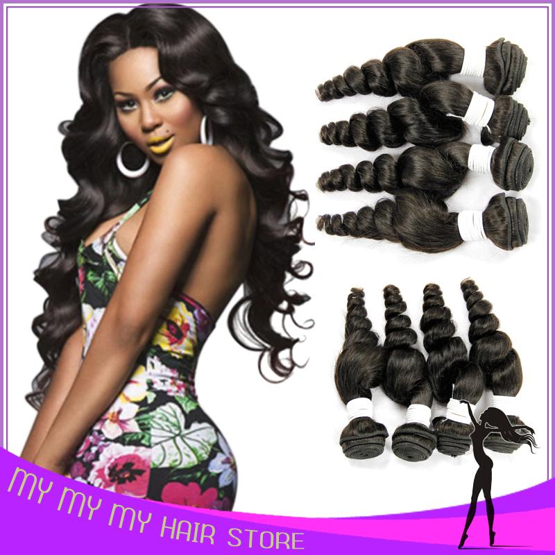 Peruvian Virgin Hair Loose Wave 4 Bundles A Unprocessed Virgin Hair Guangzhou Queen Hair Products Peruvian Loose Wave Weave(China (Mainland))