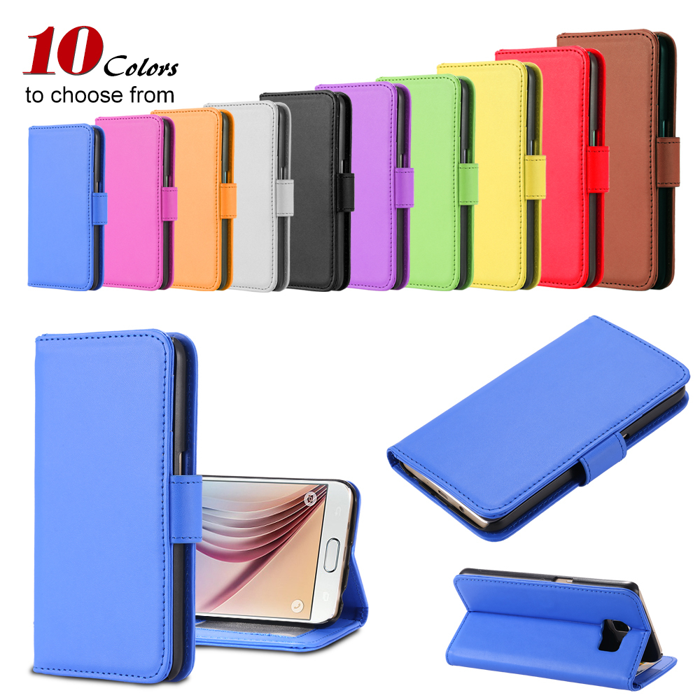 50pcs/lot Wholesale By DHL Luxury Stand Wallet PU Leather Flip Cell Phone Case Cover For Samsung Galaxy S6 Edge With Card Slot