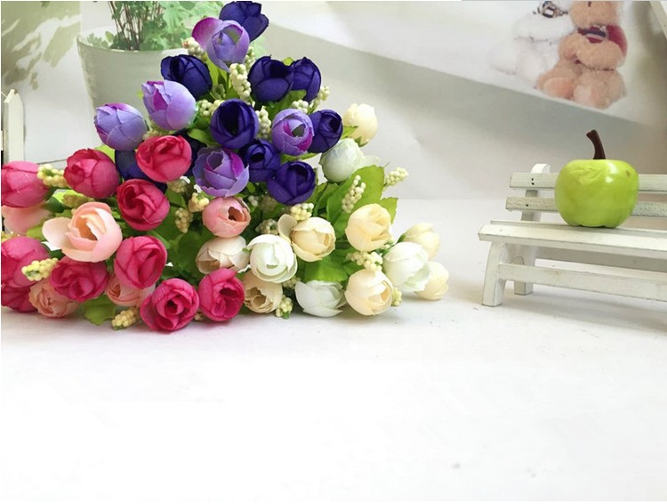 Colorful Silk Flowers artificial flower 15 heads Mini Rose Home Decor for wedding small roses bouquet decoration (20)