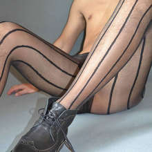 2016 Hot Men Vertical Stripes SEXY Pantyhose Transparent Stockings See Through Mens Tights Pantyhose Sexy lingerie Leggings