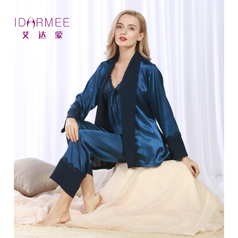 IDARMEE S1004 New Fashion Robe Women Pajamas Pants Sets Ladies Luxurious Sleepwear 3 Pieces Female Pijama Sets Nightgowns(China (Mainland))