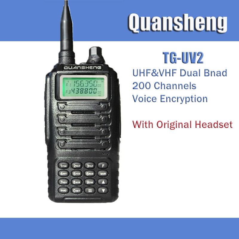Original Quansheng TG-UV2 Dual Band Display Portable Two Way Radio FM VHF136-174Mhz/UHF400-470 CB Walkie Talkie 10KM +Headset(China (Mainland))