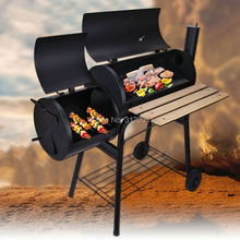 Ship From USA! Black Portable Charcoal BBQ Grill Burner Outdoor Barbecue Oven Camping Cooking Offset Smoker With Wheels(China (Mainland))