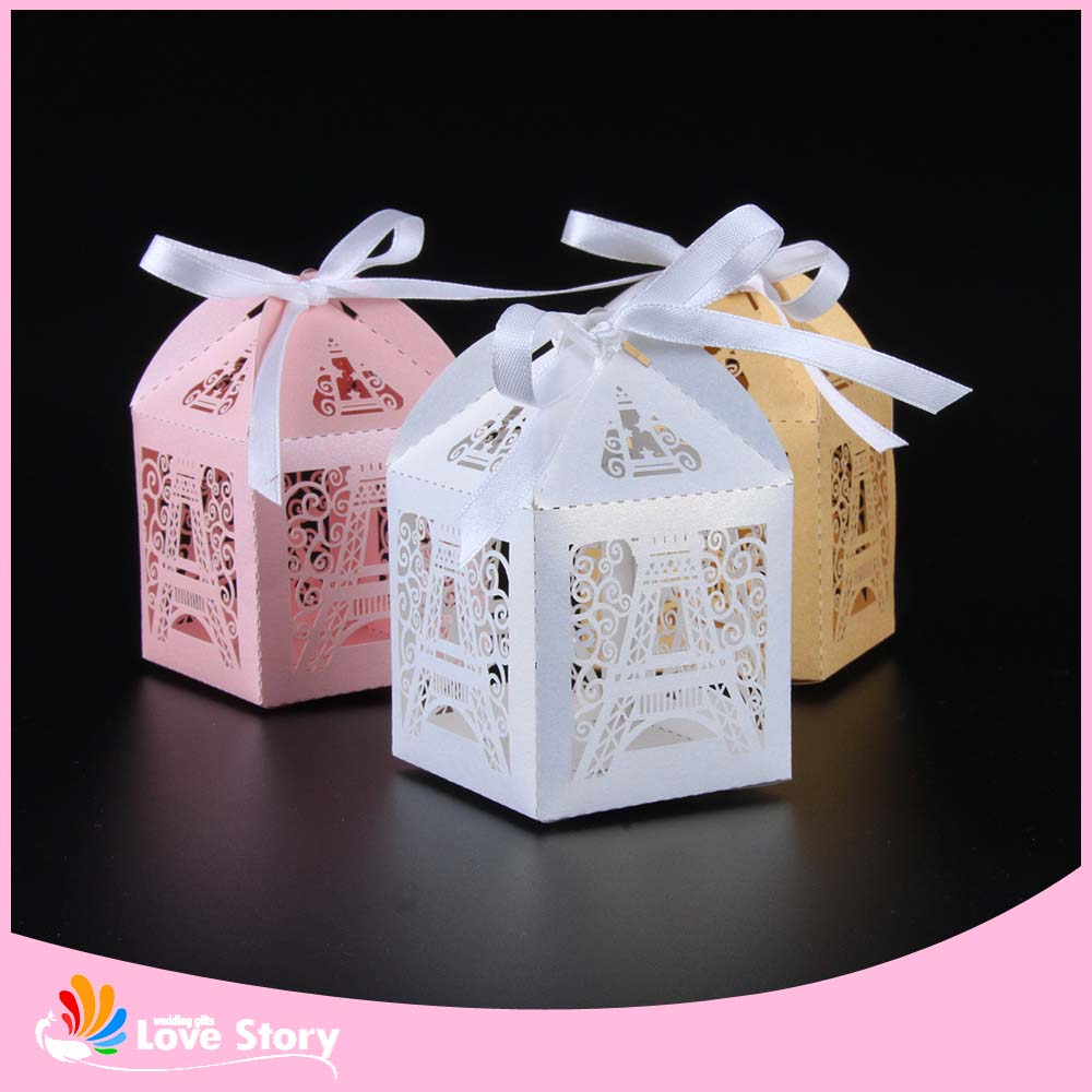 50pcs eiffel tower laser cut candy box wedding favor box for Wedding favor supplies