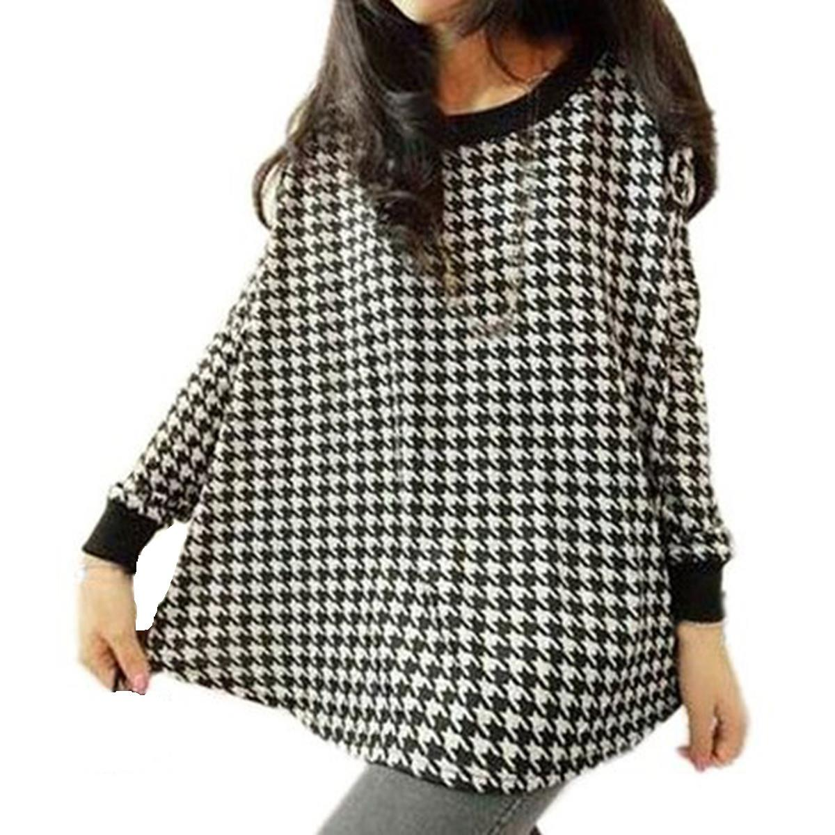 Retro Vintage T-shirt 2016 Spring Fall Women Houndstooth Crew Neck Long Sleeve Plaid Loose Tee T-shirts Grid Tops Plus Size 3XL(China (Mainland))