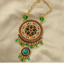 Ethnic jewelry pendant necklace gold color chain colorful resin beads pendants vintage long necklace for women