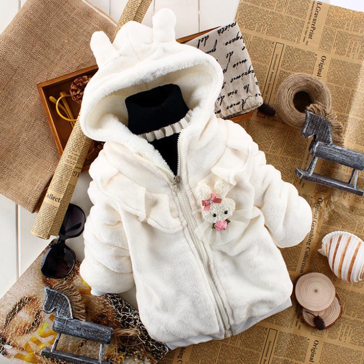 Retail Tutu Baby girls hoodies rabbit Girls jackets & coats Zipper Winter 2014 children's jacket velvet white Pink C166 - C&M Team Kids Store store