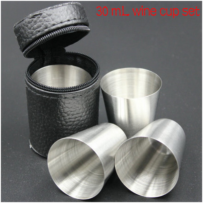 by DHL or EMS 100 sets Mini Portable Wine Cup Glass Travel Home Barware Stainless Steel Alcohol Silver Bottle 30ml(China (Mainland))