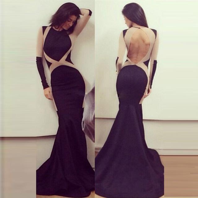 R70348 высокое качество спинки ну вечеринку платья Новый стиль ohyeah с длинным рукавом Большой размер женской одежды длиной до пола сексуальное длинное платье