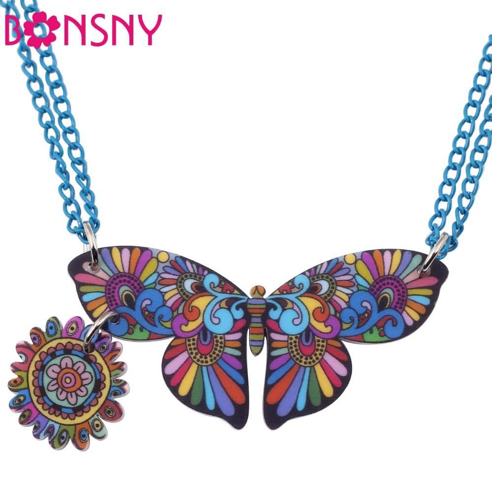 Bonsny Butterfly Statement Necklace Pendant Acrylic Pattern 2016 News Accessories Brand Animal Girls Woman Fashion Jewelry(China (Mainland))