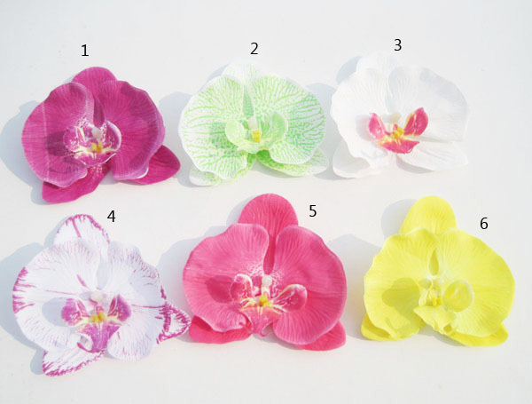 """12pcs/lot 4"""" flowers hair clips butterfly orchid silk flower brooch fabric flower bridal hair bows wedding hair accessories(China (Mainland))"""