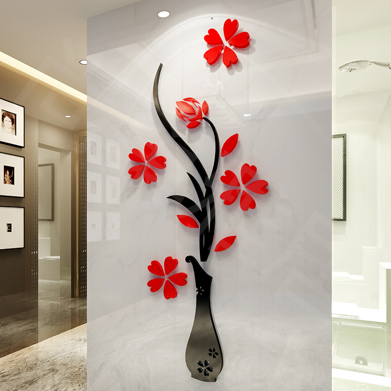 Vase 3d crystal three-dimensional wall stickers entranceway background living room tv decoration acrylic - liugang9170 store