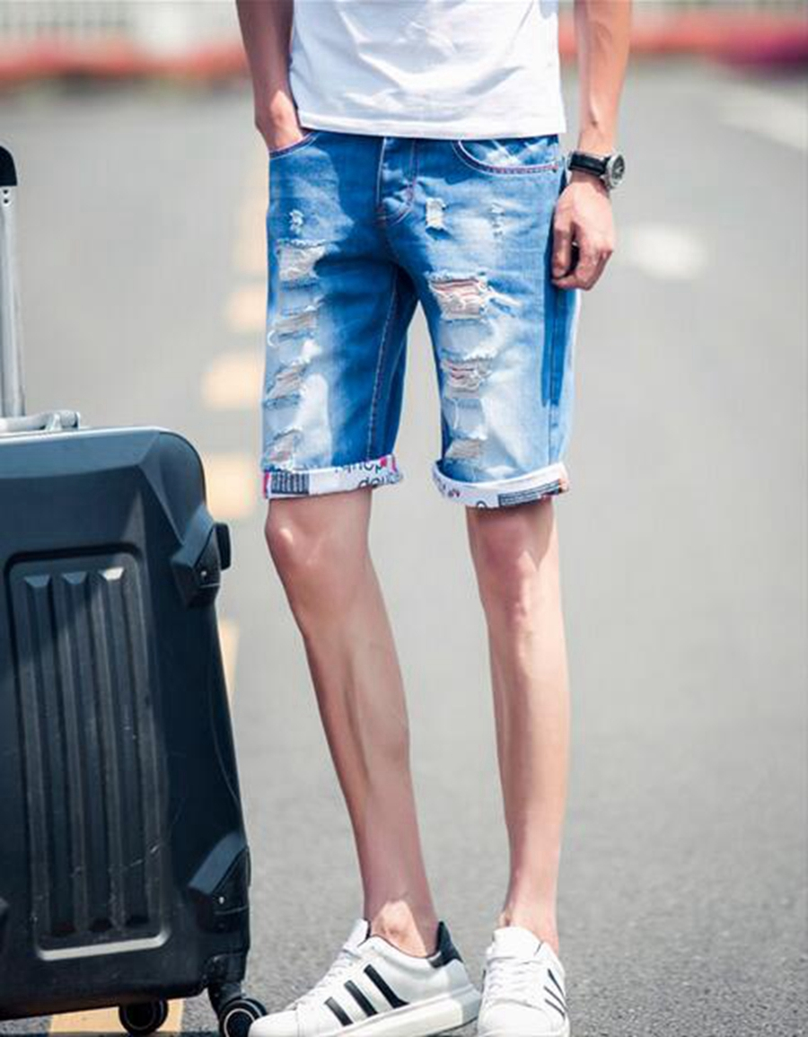 Men's summer fashion loose fertilizer increase students personality han edition thin cowboy five minutes of pants / 30-36
