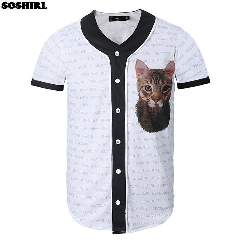 Mr.Cat Baseball Shirt Men Summer Hiphop Vintage White Off Shirt Male Uniform Jersey Fashion Cute Animal Print Sports Tees(China (Mainland))