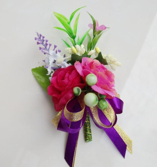 Free shipping hot pink bride groom silk wedding corsages and boutonnieres flowers party corsages prom(China (Mainland))